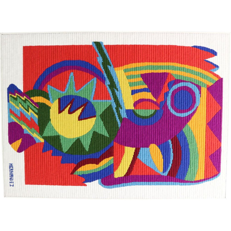 Vintage Abstract Art Tapestry by Hernandez, 1970