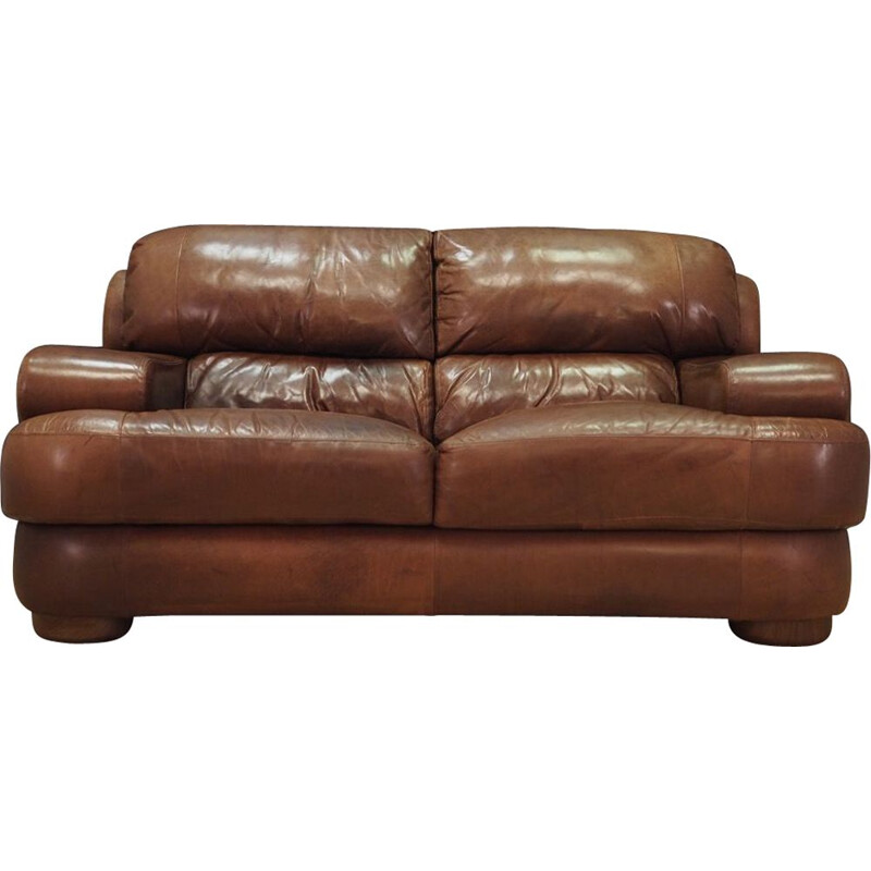 Vintage Sofa Scandinavian brown leather, Danish 1960