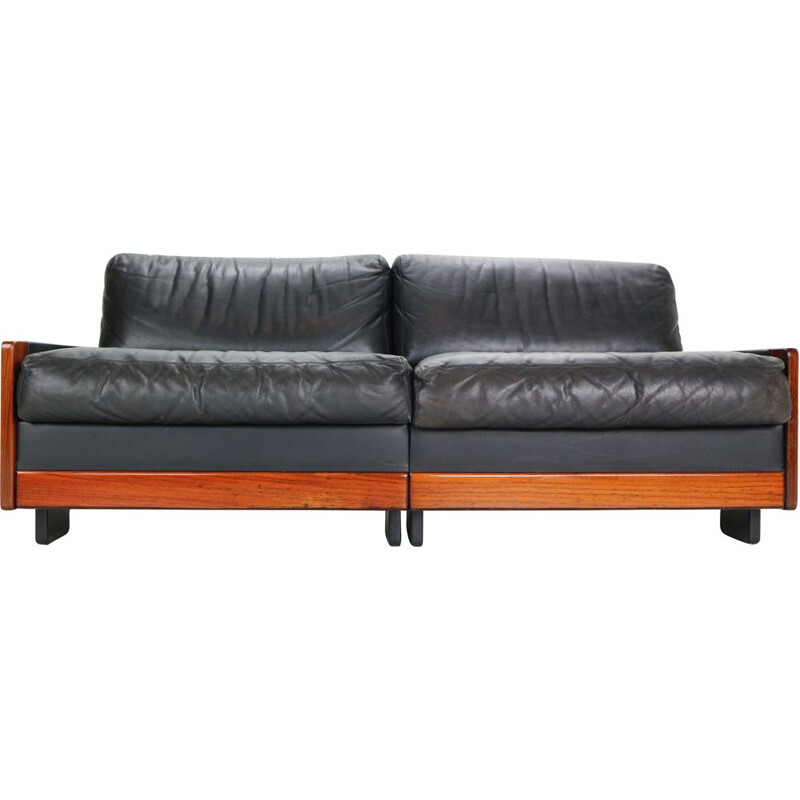 Vintage Black Leather 2-Seat Sofa for Cassina, 1960