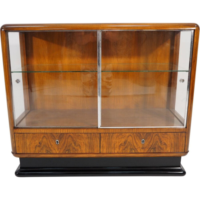 Vintage Walnut Veneer Bar Cabinet Art Deco by Jindřich Halabalafor for UP Závody, 1930
