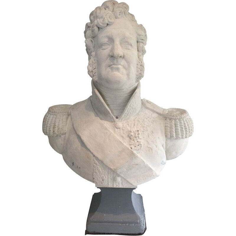 Tall vintage Plaster Bust Louis-philippe representation 1930