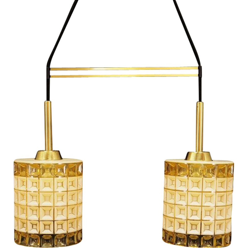 Vintage scandinavian chandelier glass in gold and white colour, 1960
