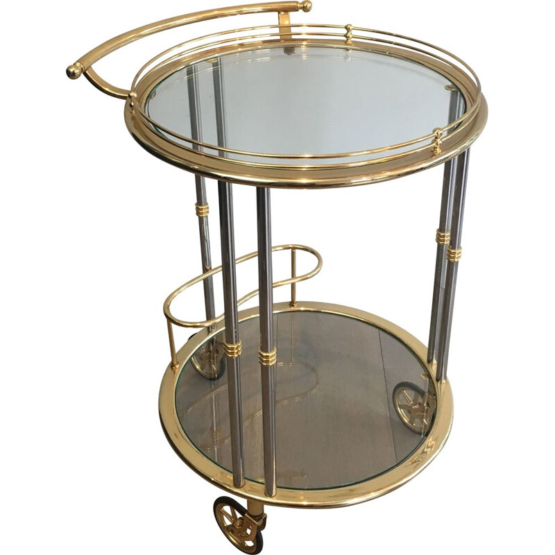 Vintage Rolling Table Gold Metal Patina,1970