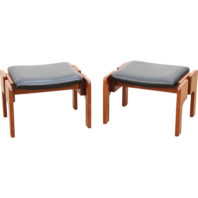 Pair of vintage teak and imitation leather stools 1960s