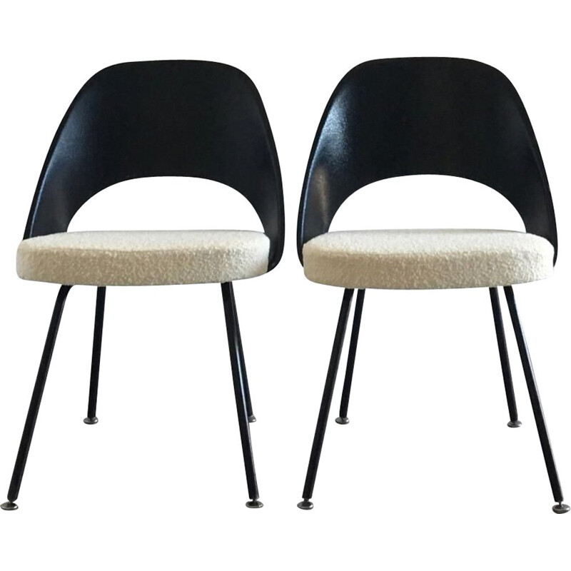 Set of 4 vintage black and white conference chairs, Eero Saarinen, 1950
