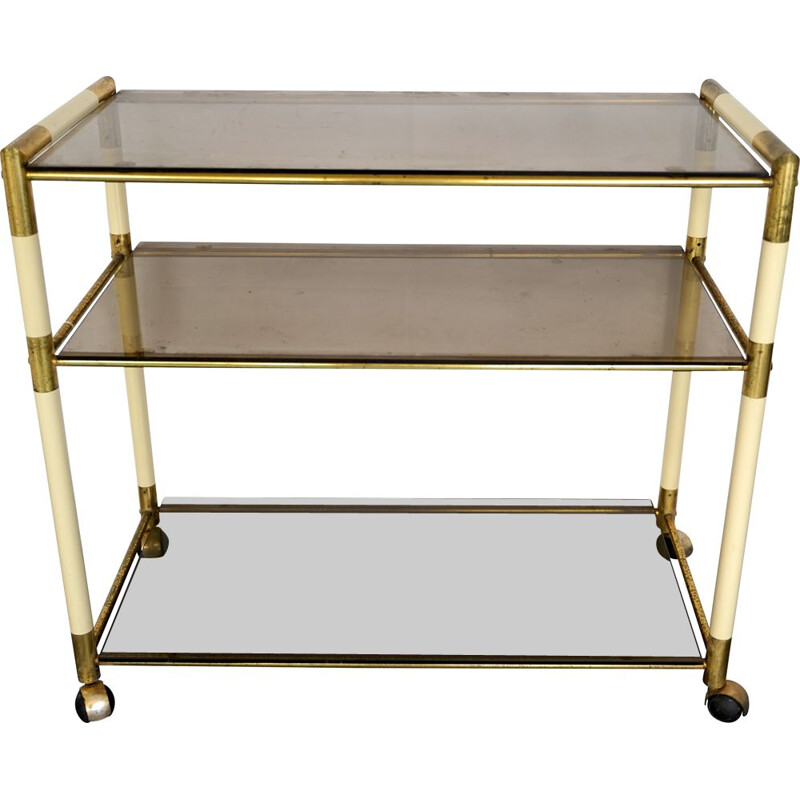 Vintage 3 shelves brass and lacquer trolley cart by Tommaso Barbi Italy 1970