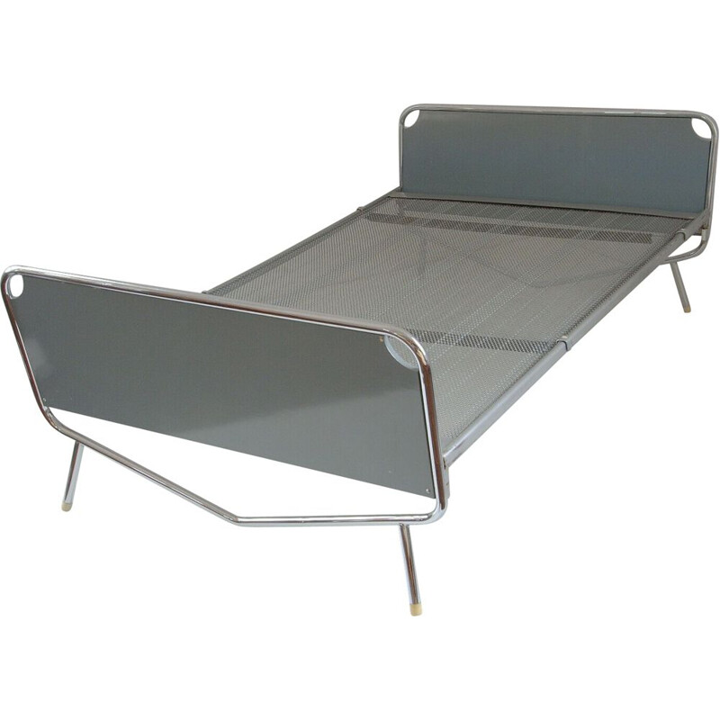 Chromed vintage bed by Wim Rietveld for Auping, 1960