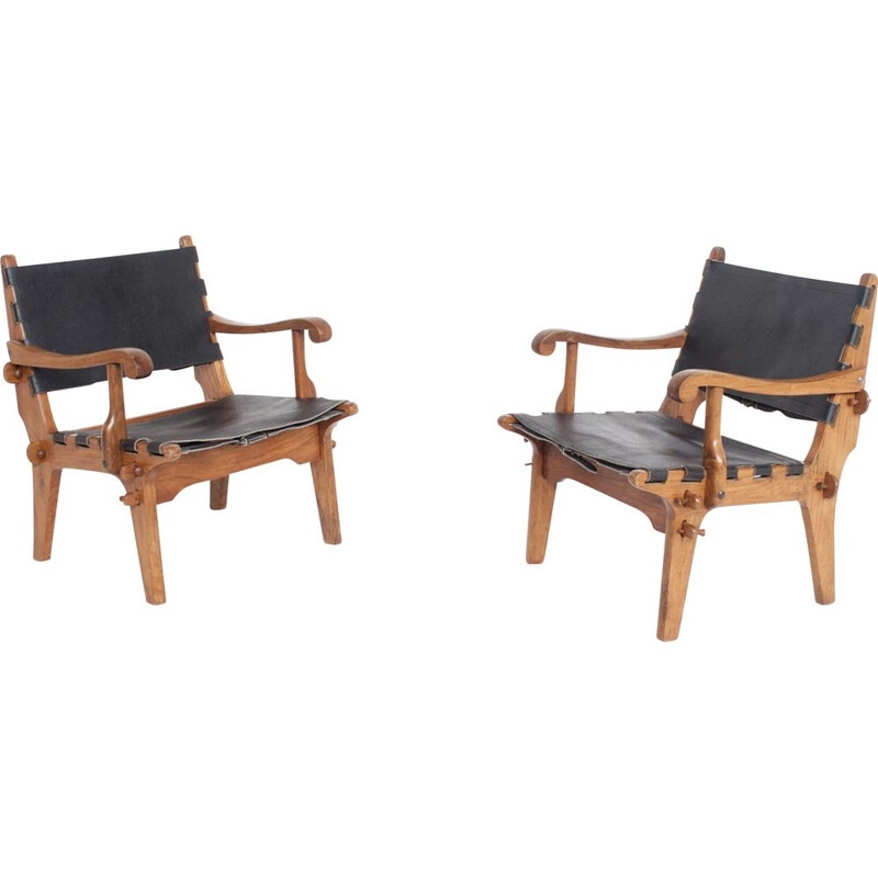 Pair of vintage teak and leather armchairs by Agel Pazmino South American 1960