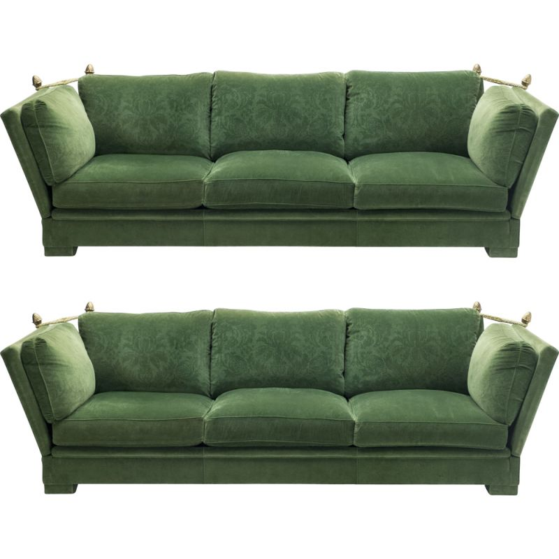 Pair of vintage large neoclassical sofas Jansen House green velvet 1970