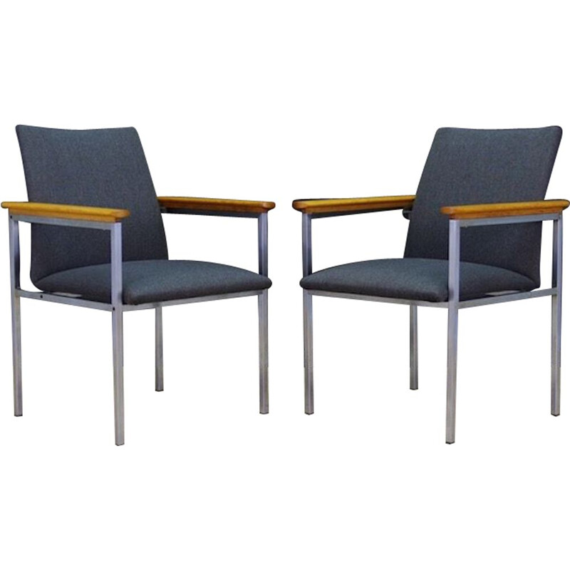 Pair of  vintage danish  armchairs for France & Son in grey fabric and metal, 1970