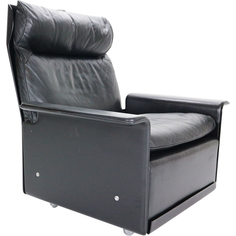 """Vintage Black Leather Lounge Chair Dieter Rams """"model-620"""" for Vitsœ, 1970"""