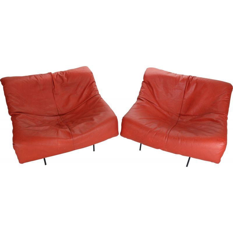 "Pair of vintage  ""Butterfly Chair"" in red leather by Gerard van den Berg Minimalist 1980"