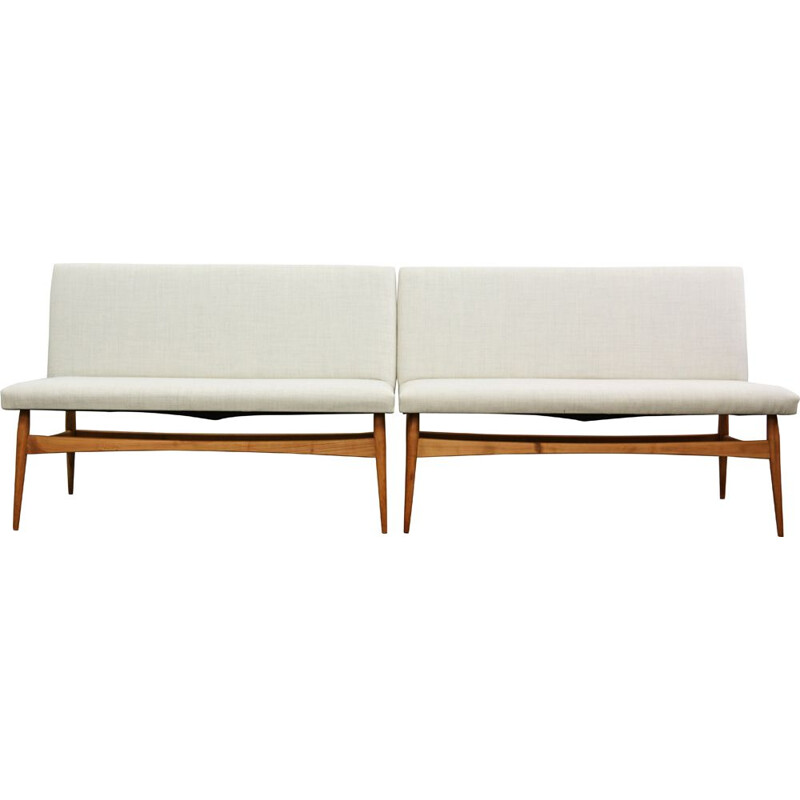 Pair of white vintage Danish Sofas 1960