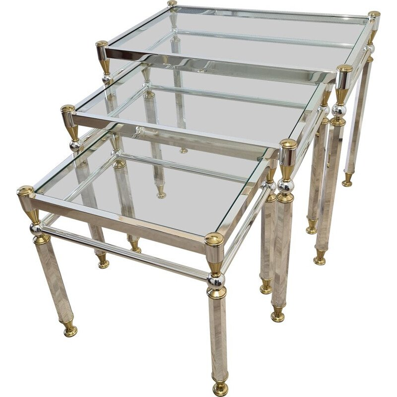 Vintage plated nesting tables Gold & silver with glass top by Orsenigo, Italy 1970