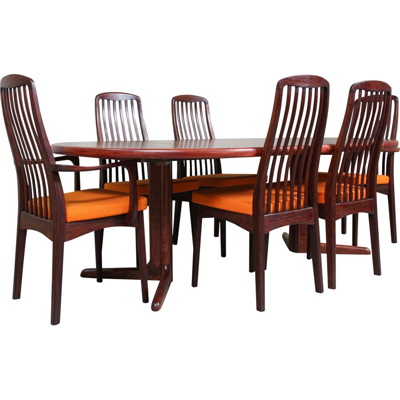 Set of vintage table and 6 Chairs, Rosewood 1960