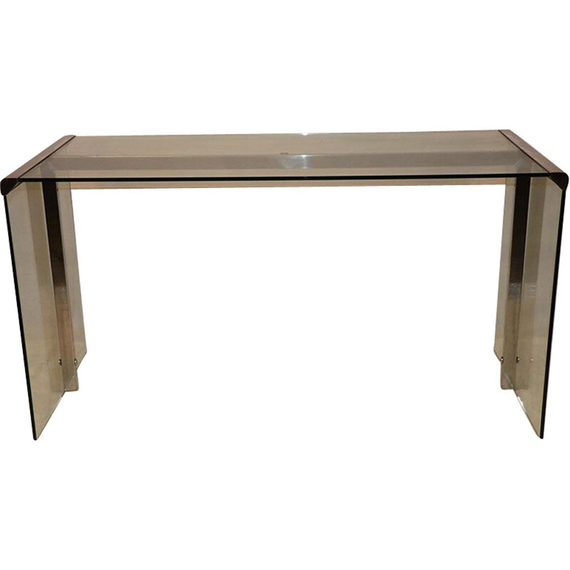 Vintage Gallotti and Radice desk in glass and chrome 1970