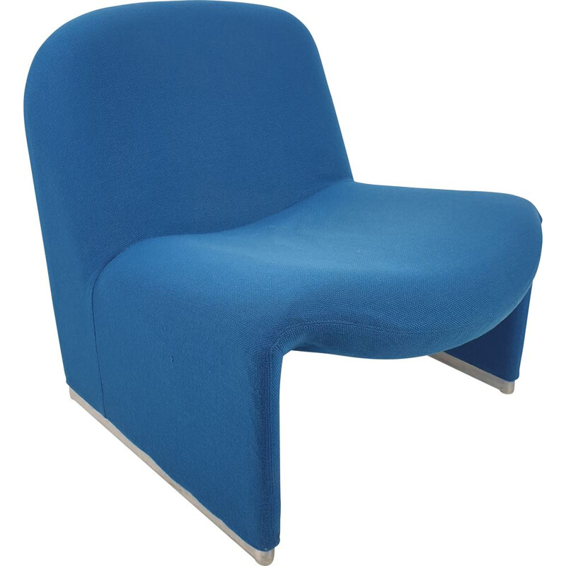 "Vintage blue lounge chair  ""Alky""  by Giancarlo Piretti for Artifort, 1970"