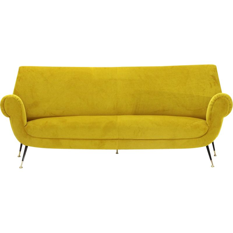 Vintage 3 seater sofa in yellow velvet 1960