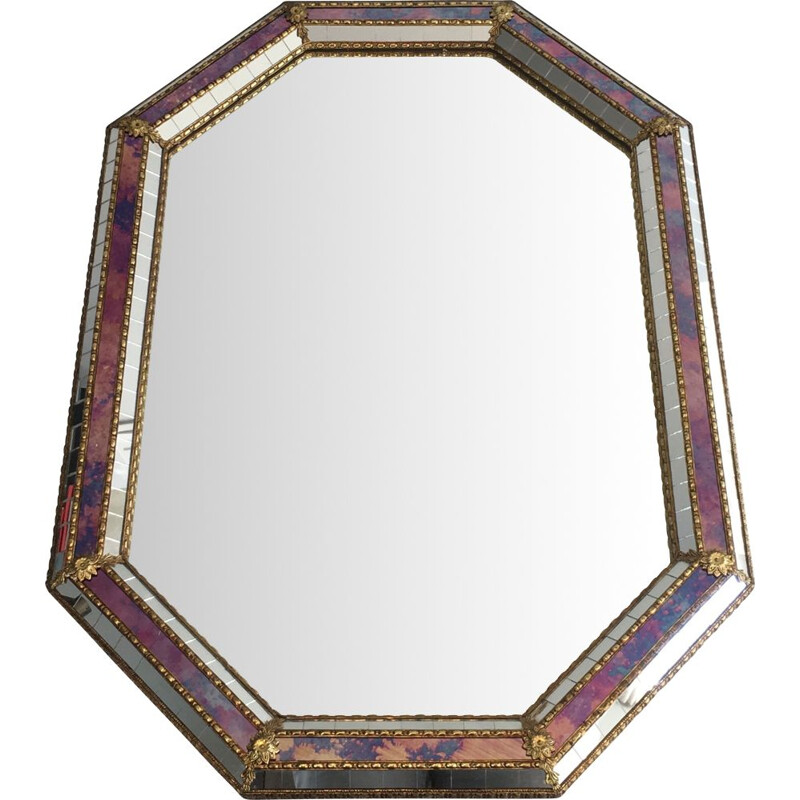 Vintage Octogonal mirror multi-facet 1970