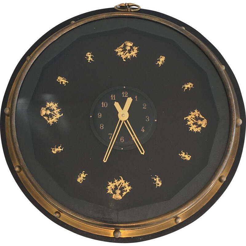 Vintage Round Black and Golden  wall Clock 1950