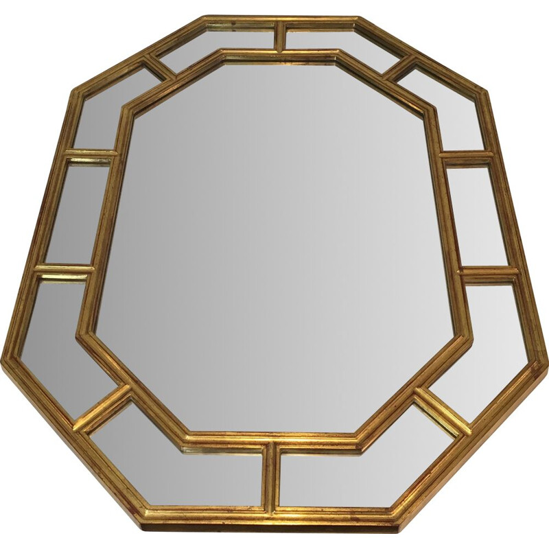 Vintage Octagonal Golden Resin Mirror 1970