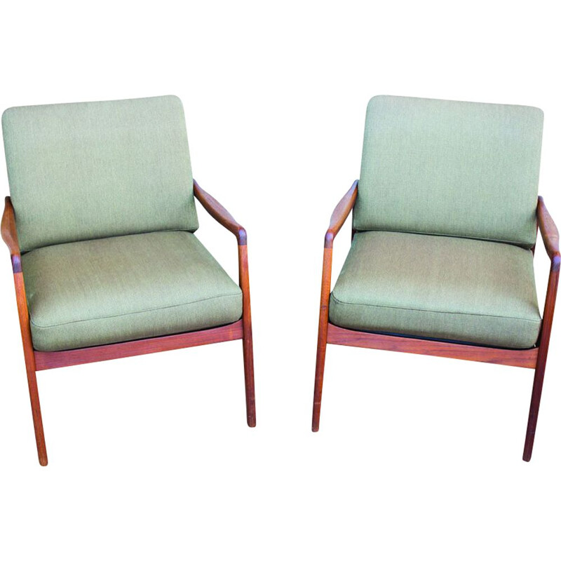 Pair of vintage FD109 Teak Lounge Chair by Ole Wanscher for France & Søn, 1960s