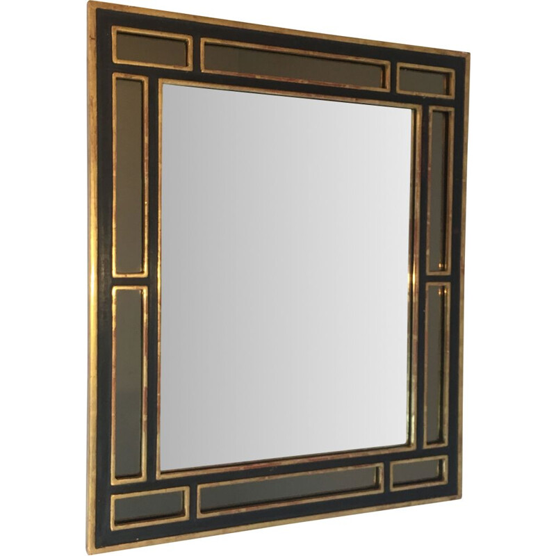 Vintage Mirror in Golden Wood and Polychrome 1970s