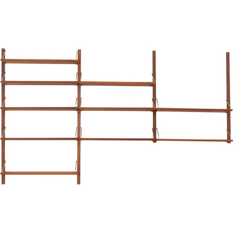 Vintage teak wall unit with 10 shelves in the style of Cadovius Danish 1960s