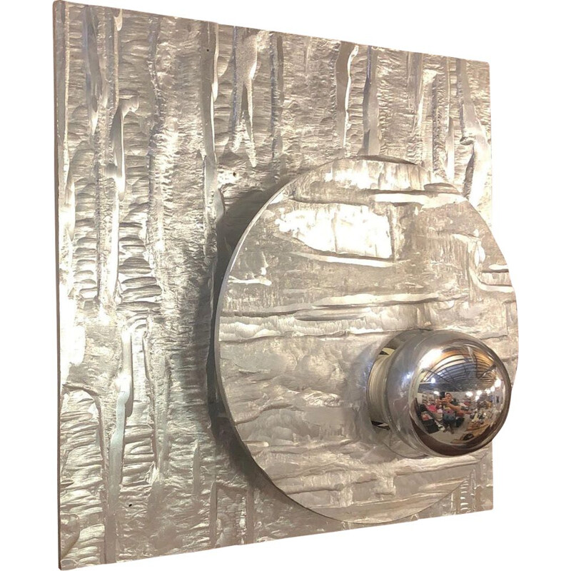Vintage aluminium wall light 1970