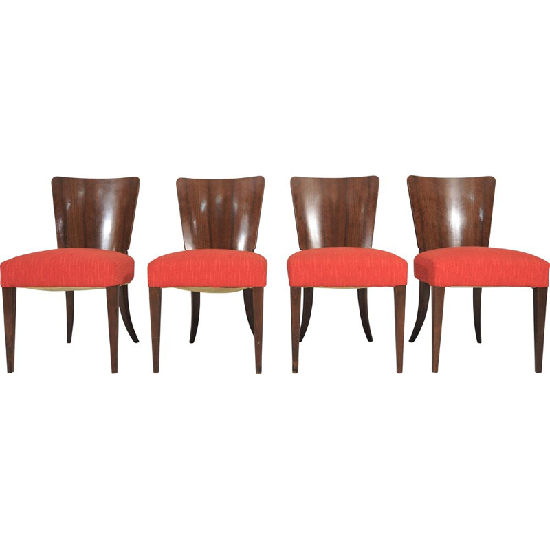 Set of 4 vintage chairs by Jindřich Halabala for Thonet 1940