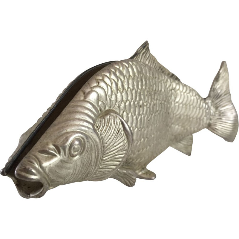Vintage Fish Decoration in silver plated steel