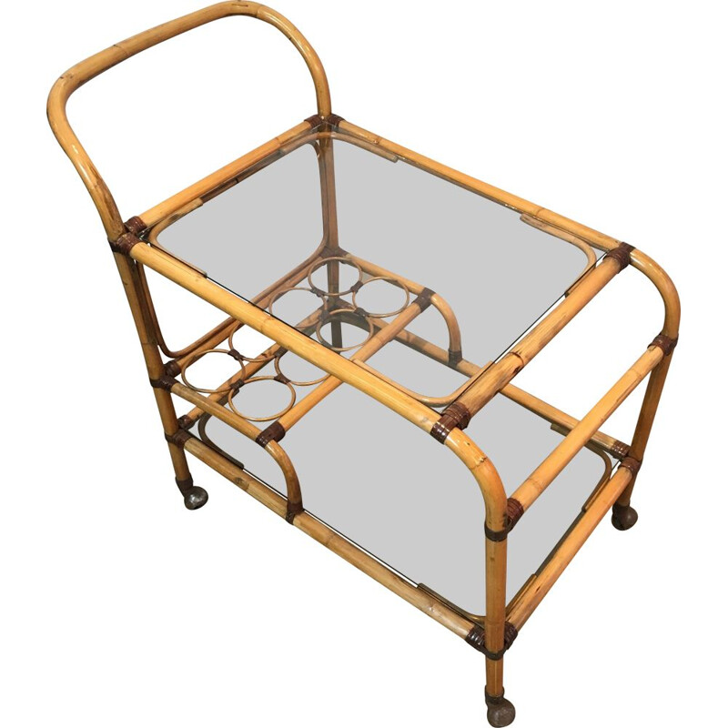 Vintage rattan and leather trolley, 1950