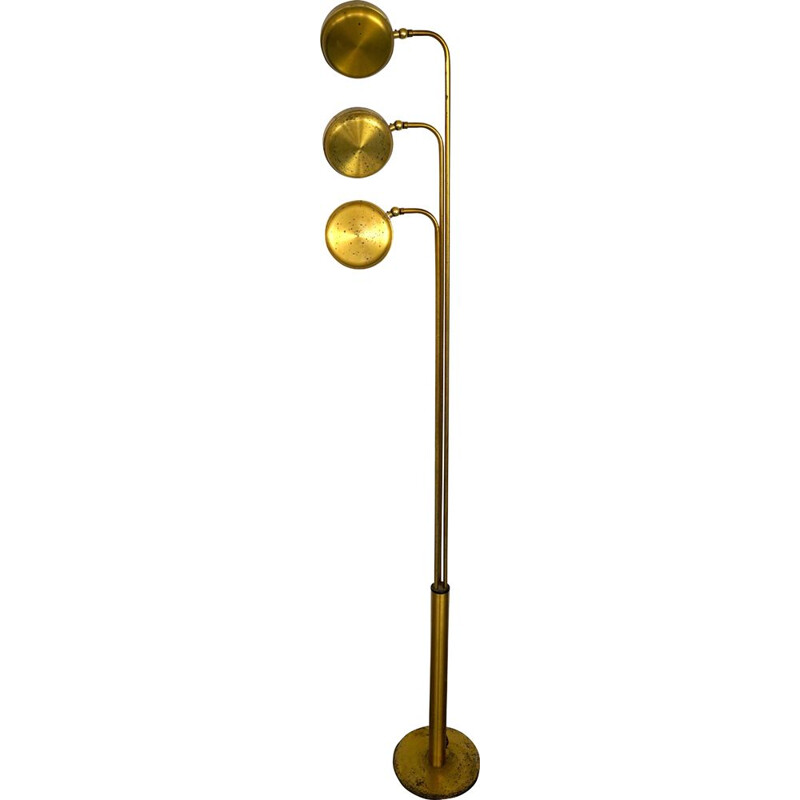 Vintage three arms brass floor lamp by Goffredo Reggiani Italy 1970