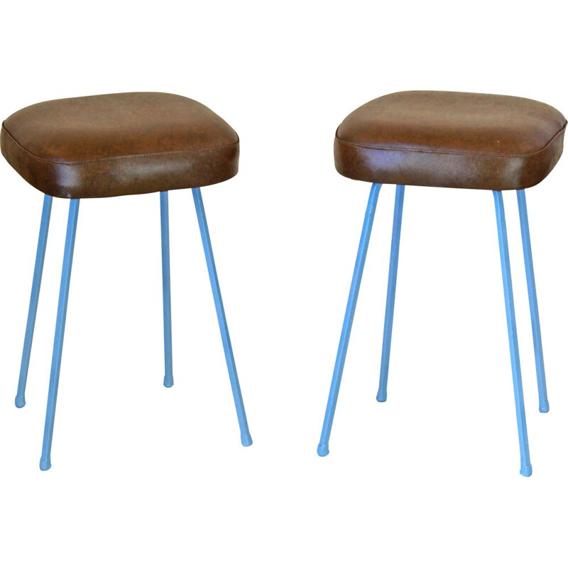 Set of two vintage low stools 1960