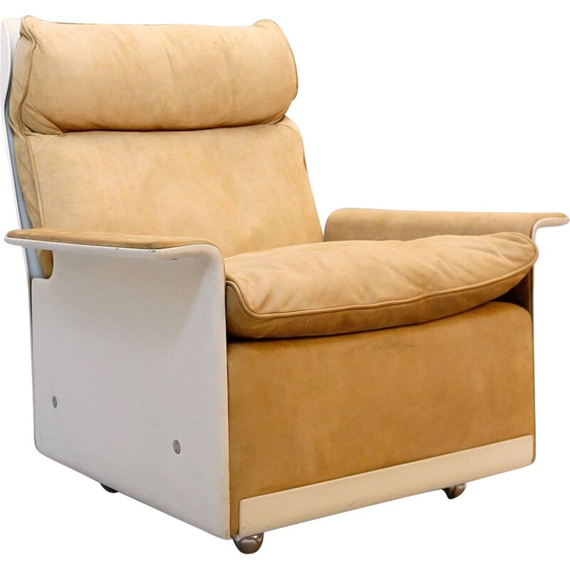 Vintage Chaise Longue From The 620 Nubuck Camel Leather Chair Program By Dieter Rams For Vitsœ 1962