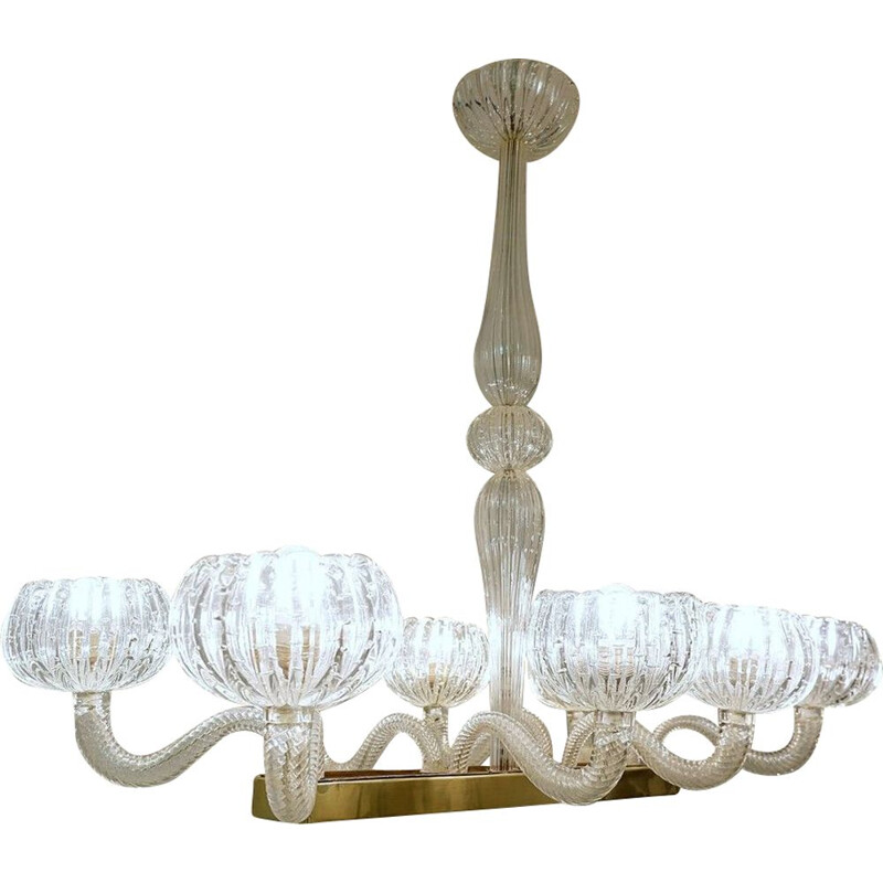 Vintage chandelier by Ercole Barovier Murano 8 Luminous Arms 1930