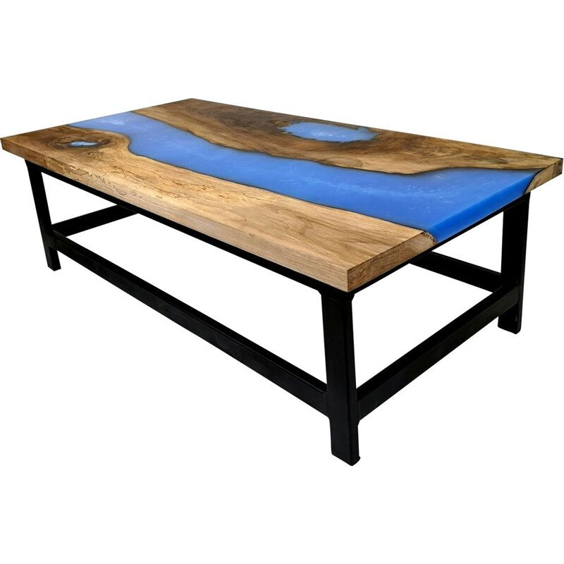 Vintage Walnut Coffee Table with Blue Epoxy Resin and Steel Legs