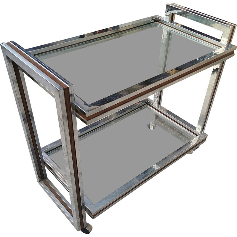 Vintage Bar trolley in steel and glass 1970s