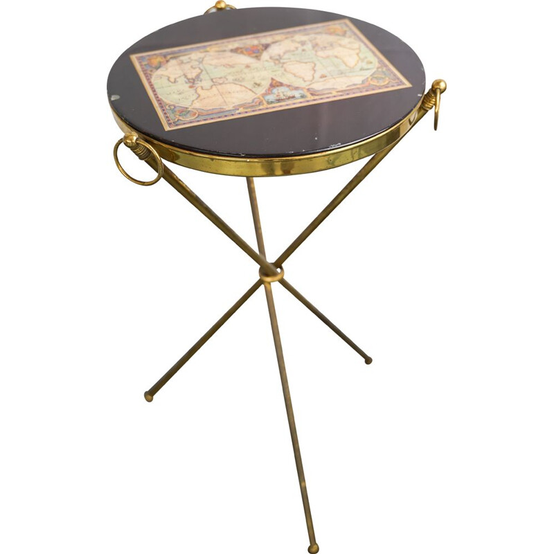 Vintage Small brass and wood tripod coffee table Italy 1950s