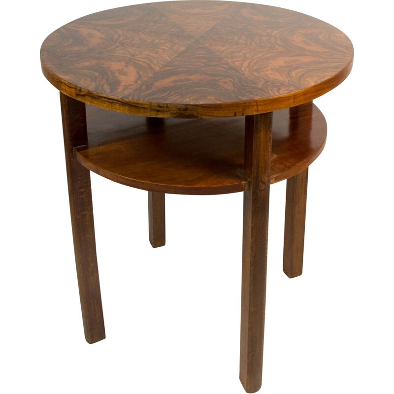 Vintage Round Coffee Table with Walnut Veneer by Jindrich Halabala 1930s