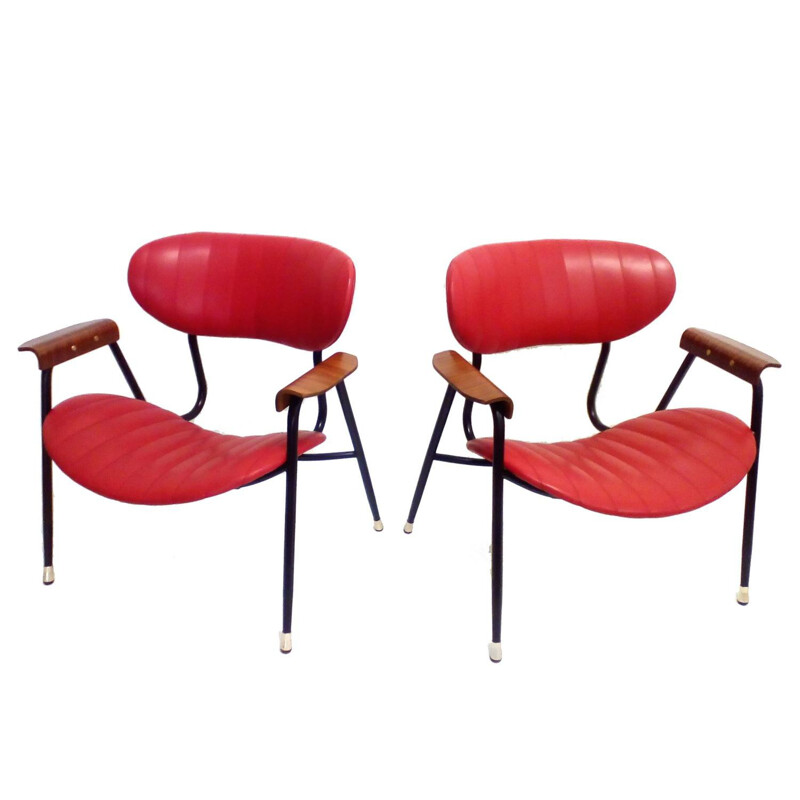 Pair of Rima armchairs in red leatherette, Gastone RINALDI - 1960s