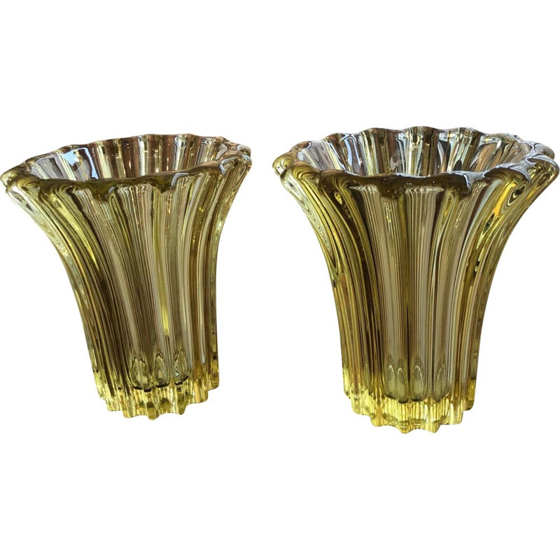 Pair of vintage yellow stone vases avesn 1950