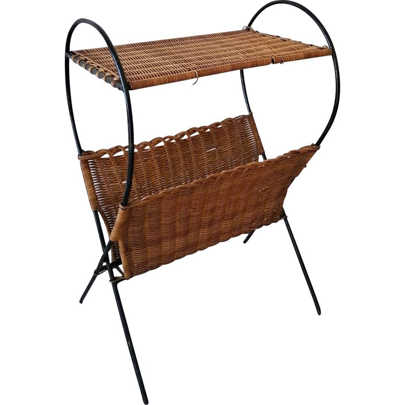 Vintage rattan side table with its magazine rack, 1950