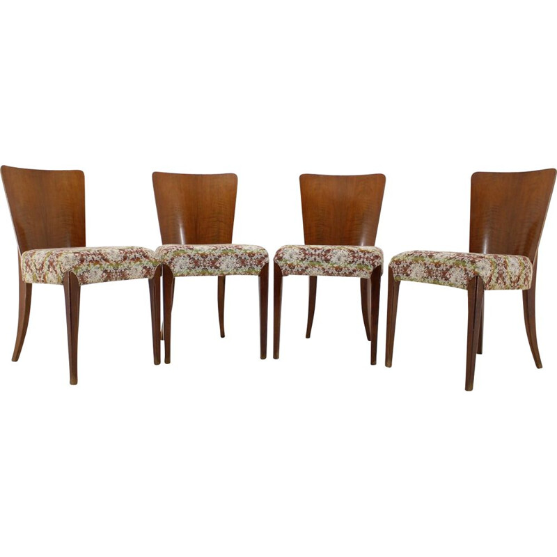 Set of 4 vintage Jindrich Halabala Art Deco Dining Chairs for UP Závody 1940