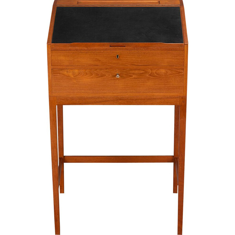 Vintage High Desk in Teak with Black Leather by Svend Langkilde for Langkilde Møbler, 1960