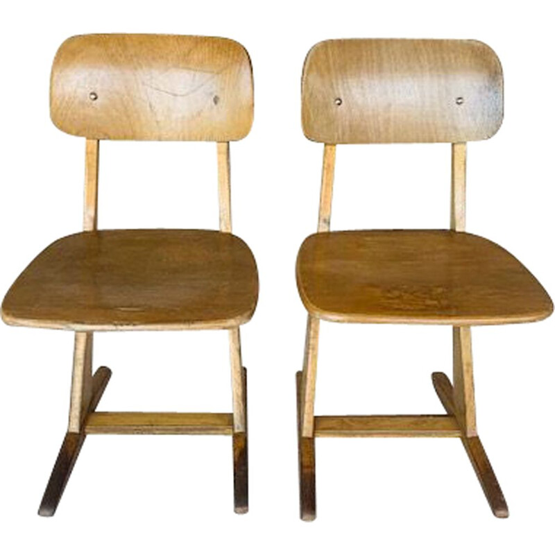 Pair of children's vintage school chairs by Casala
