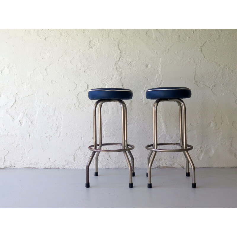 Vintage stools in metal and blue leatherette, 1950s