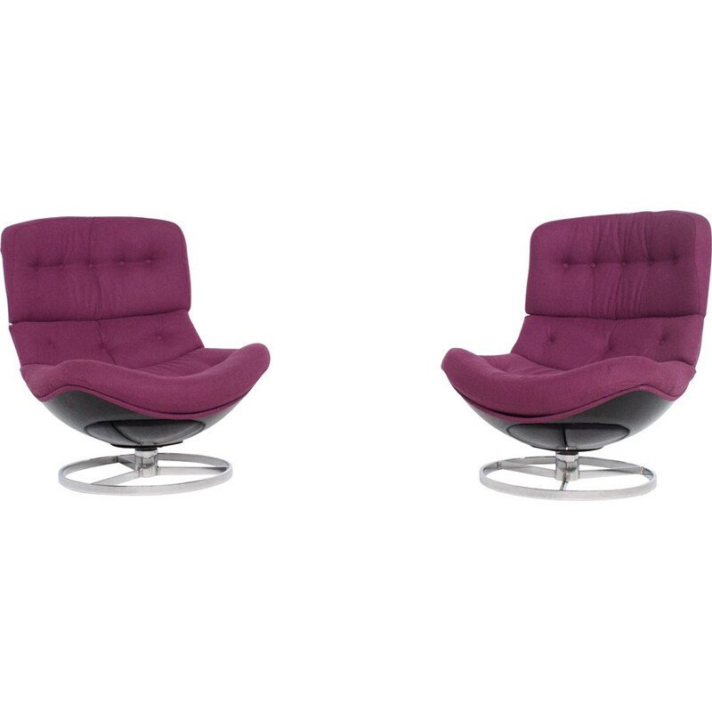 Pair of vintage swivel armchairs by Michel Cadestin 1970s