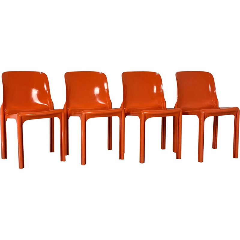 Set of 4 vintage Flash Orange Selene Chairs by Vico Magistretti for Artemide, 1970s