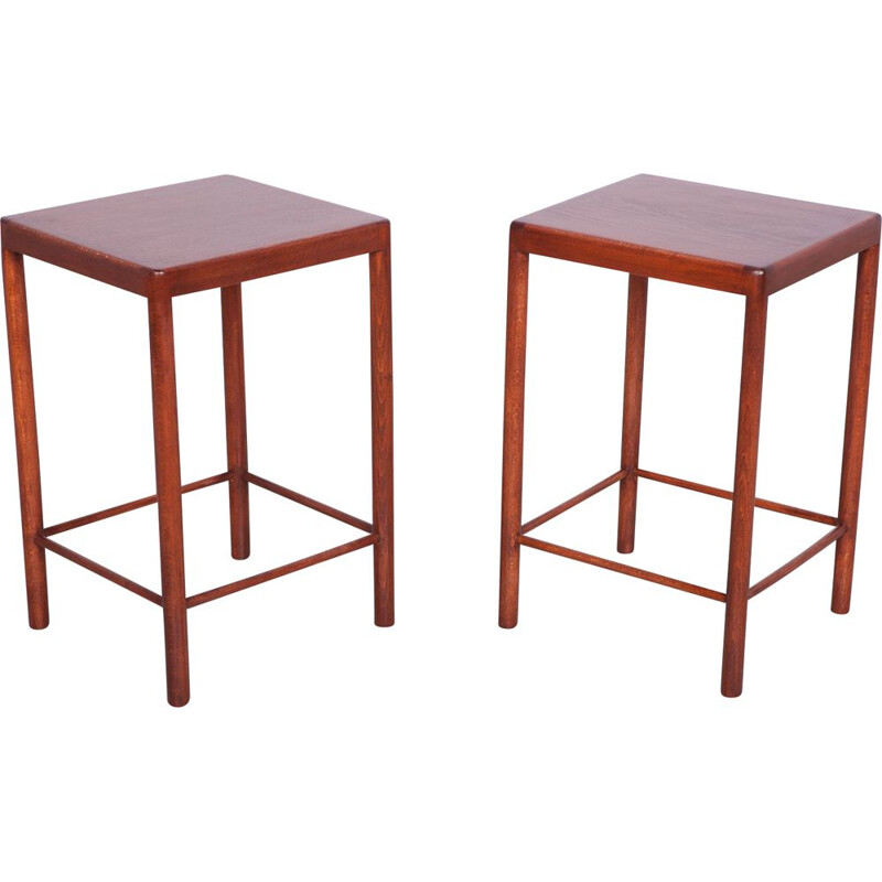 Pair of Mid Century Danish Beech Side Tables from Fritz Hansen 1960s